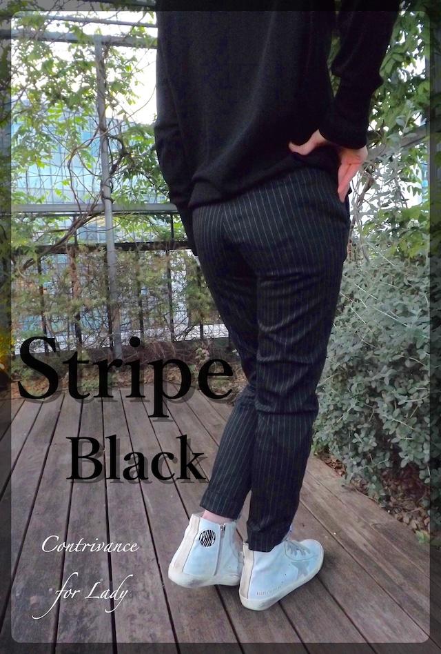 womens {cl004-65 }ストライプトラウザーズ (ブラック×グレー)ストレッチサテン素材 日本製