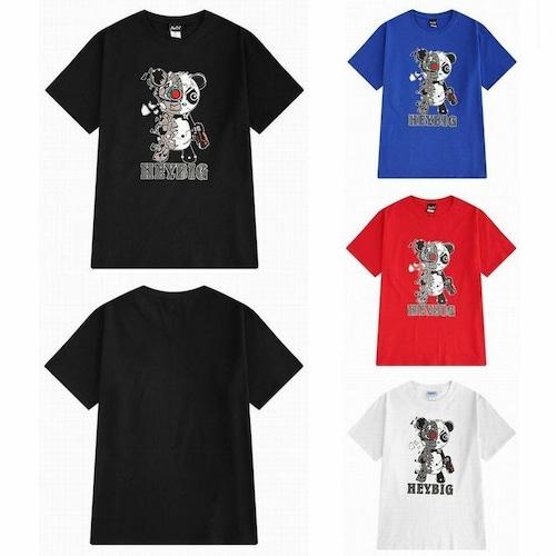 【★送料無料★】 4カラー ユニセックス パンダプリント Tシャツ 韓国ファッション メンズ レディース 半袖 ロゴ ラウンドネック DCT-577467808827