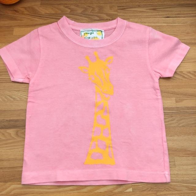 受注制作 kidsTシャツ「ピンク染 アフリカンキリン」80cm~140対応