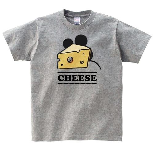 チーズ ねずみ Tシャツ メンズ レディース 半袖 ゆったり おしゃれ トップス グレー 30代 40代 ペアルック プレゼント 大きいサイズ 綿100% 160 S M L XL