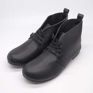 撥水エラスティックシューレースデザートブーツ(color:ブラック)