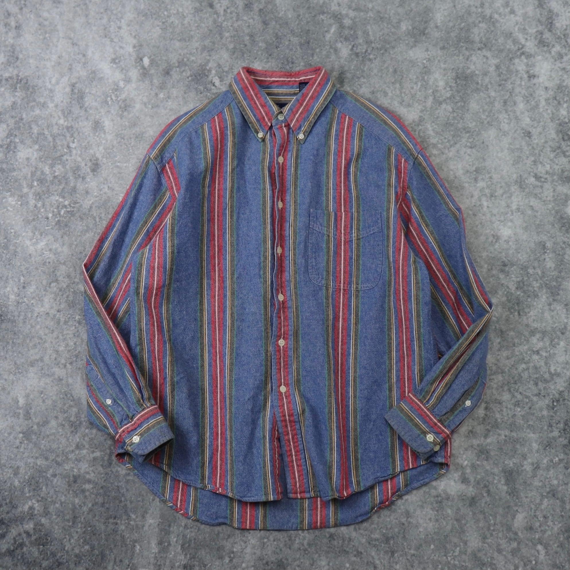 """90s  """" GAP """"  BD  Shirts   L    90年代 オールドギャップ ボタンダウンシャツ ストライプ柄 メンズL 古着 A579"""
