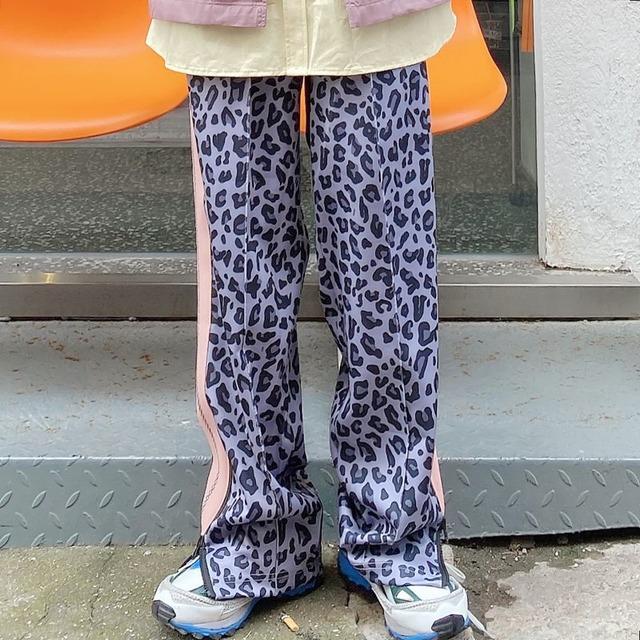 【ボトムス】ストリートヒョウ柄切り替えカジュアルパンツ42907490
