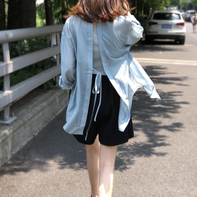 日除けバックリボンシャツ 4色 【210347】