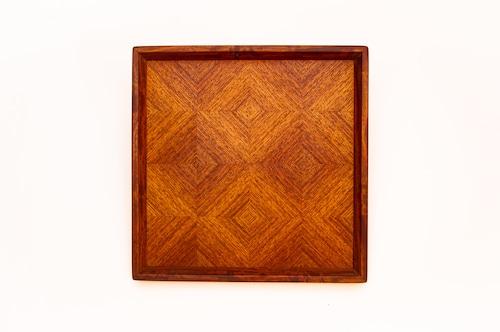 花梨 市松模様正方形のトレー CBKL-0314