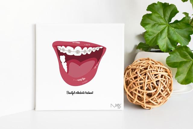 Orthodontic キャンバスプリント(スクエアS2サイズ・木製パネル貼り)