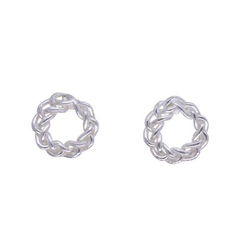 Knitted circle pierced earrings