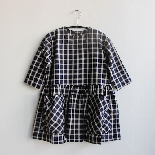 《AS WE GROW 2021AW》Pocket Dress long sleeve / navy checked