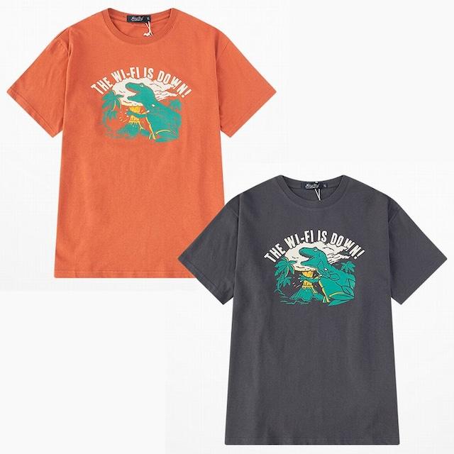 ユニセックス 半袖 Tシャツ メンズ レディース THE WI-FI IS DOWN! 英字 ダイナソー プリント オーバーサイズ 大きいサイズ ルーズ ストリート TBN-610542740529