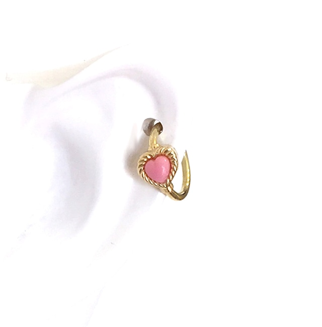 VINTAGE HEART CHARMのsnap RING body jewelry K18YG チャーム単体 #0003