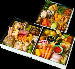 【予約販売】特選おせち三段重・魚沼産 特別栽培米「雪椿」お餅付(関東エリア:送料込)