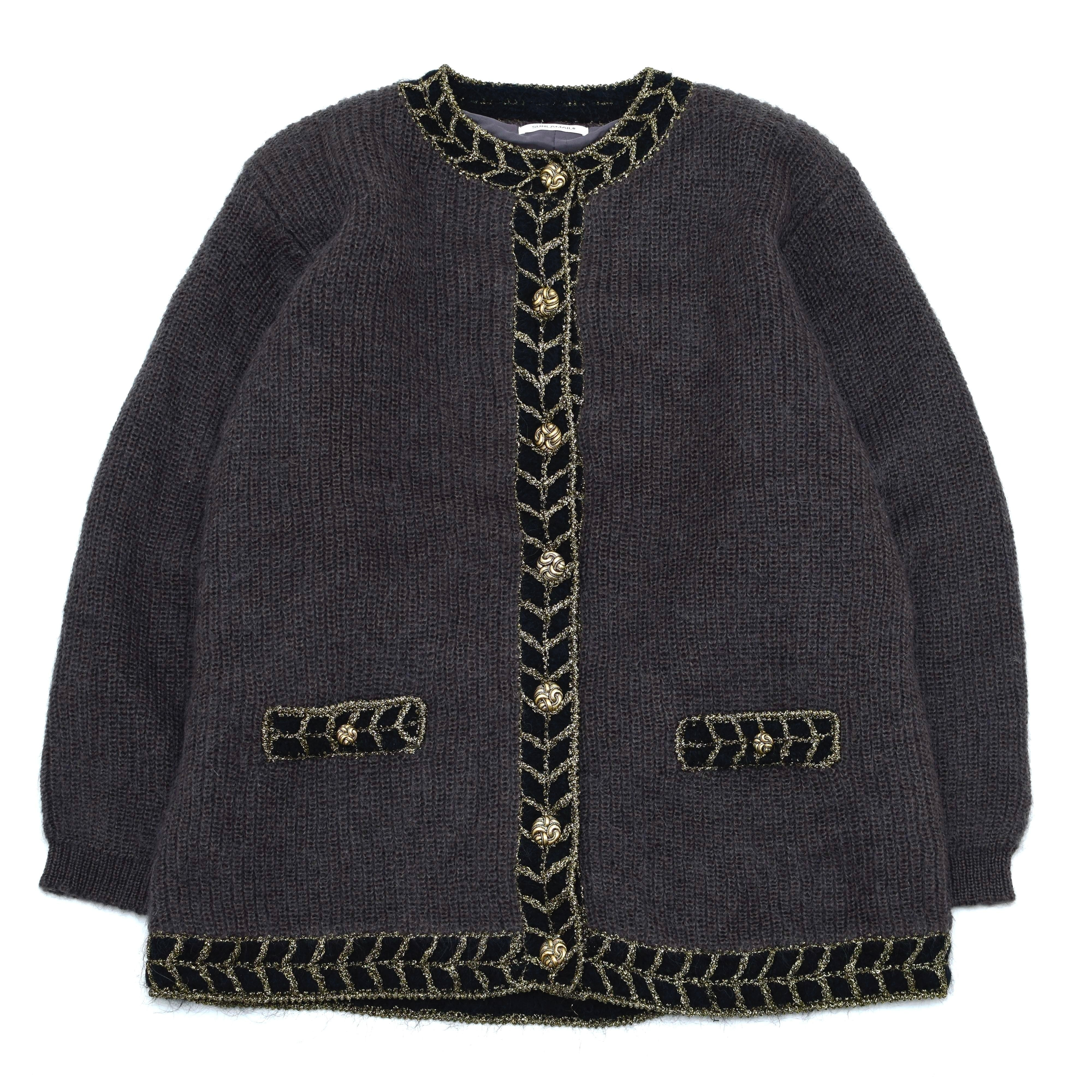 Luxury bicolor wool knit cardigan