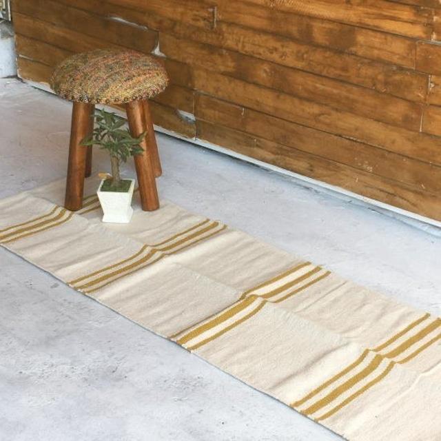 TOPANGA Homefurnishing  キャメルストライプダリマット 50×180cm