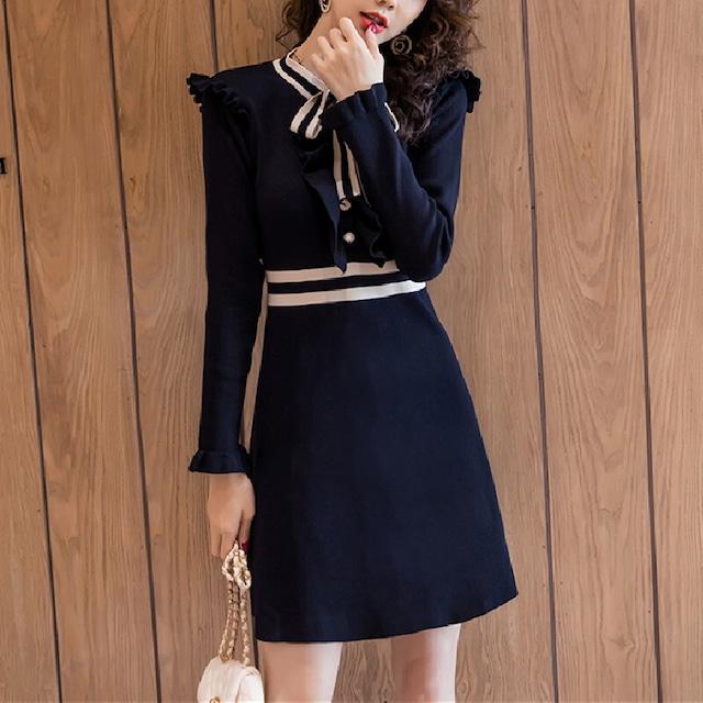 ワンピース ニット Aライン 細見せ 人気満々 気質満点 エレガント スウィート 着やすい ペプラム ブラック