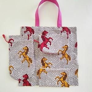 アフリカンファブリック ECOバッグ (白地・黄色と赤馬)