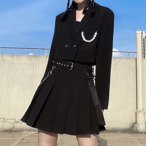 【2点セット】パール飾りジャケット+スカート ・19432