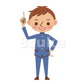 イラスト素材:指差しをする学生服姿の男子中学生・高校生(ベクター・JPG)