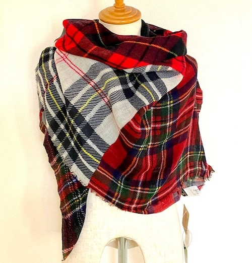 Glen Prince Check Switch Stole  Red Mix
