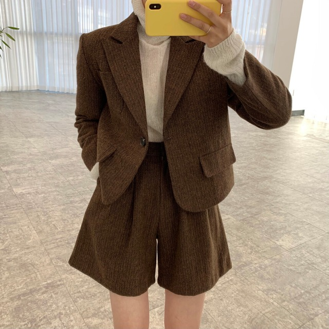 2021SS シックショートスーツジャケット+ハイウエストショートパンツ S3630