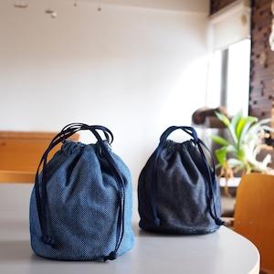 うしじま縫製   武州正藍染 巾着バッグ 大(内側 仕切りあり) 一重刺子