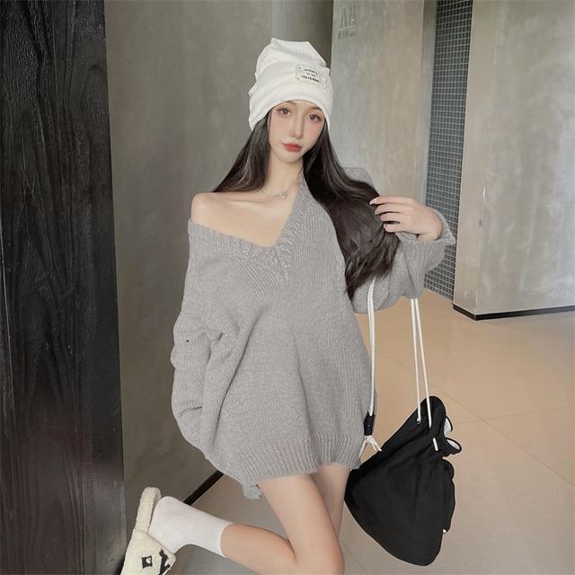 【トップス】3色展開 オフショル ワンショルダー ロング ファッション無地 セーター52902281