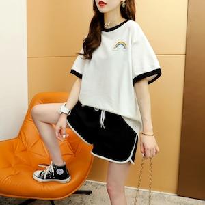 カジュアルゆったりスポーツ配色半袖Tシャツ+ショートパンツセットアップ<ins-1739>