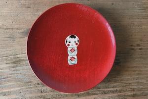 かわいい こけし の縁起豆皿|会津漆器 食器 おしゃれ|ほくるし堂