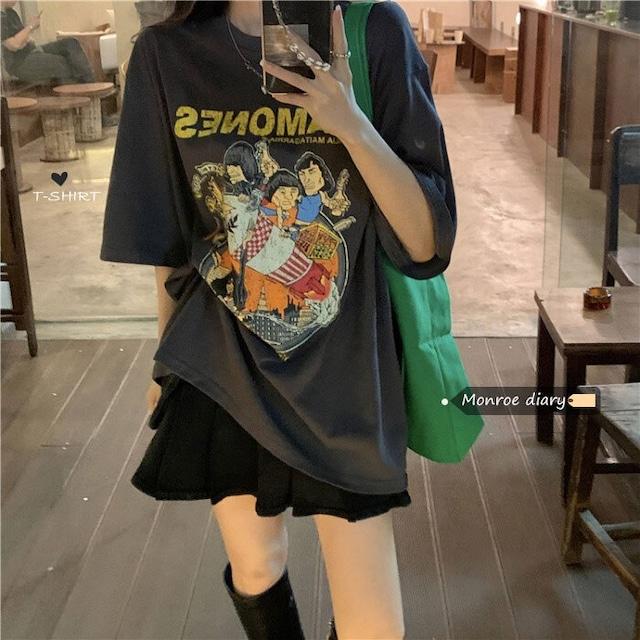 【トップス】韓国系半袖ラウンドネックプルオーバーTシャツ46553075