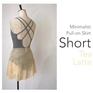 ◆[SHORT] Minimalist Ballet Skirt : Tea Latte (ショート丈・プルオンバレエスカート『ミニマリスト』(ティーラテ))