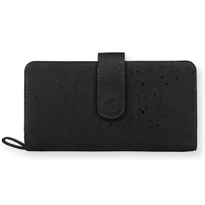 VEGAN CLUTCH WALLET - BLACK + MAROON / 長財布 ブラック&レッド コルク製