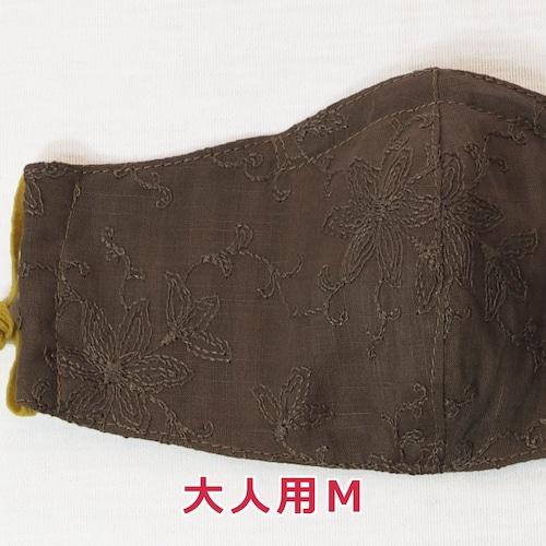 手作り立体マスク(ガーゼ)/花の刺繍・大人用Mサイズ (5-243)