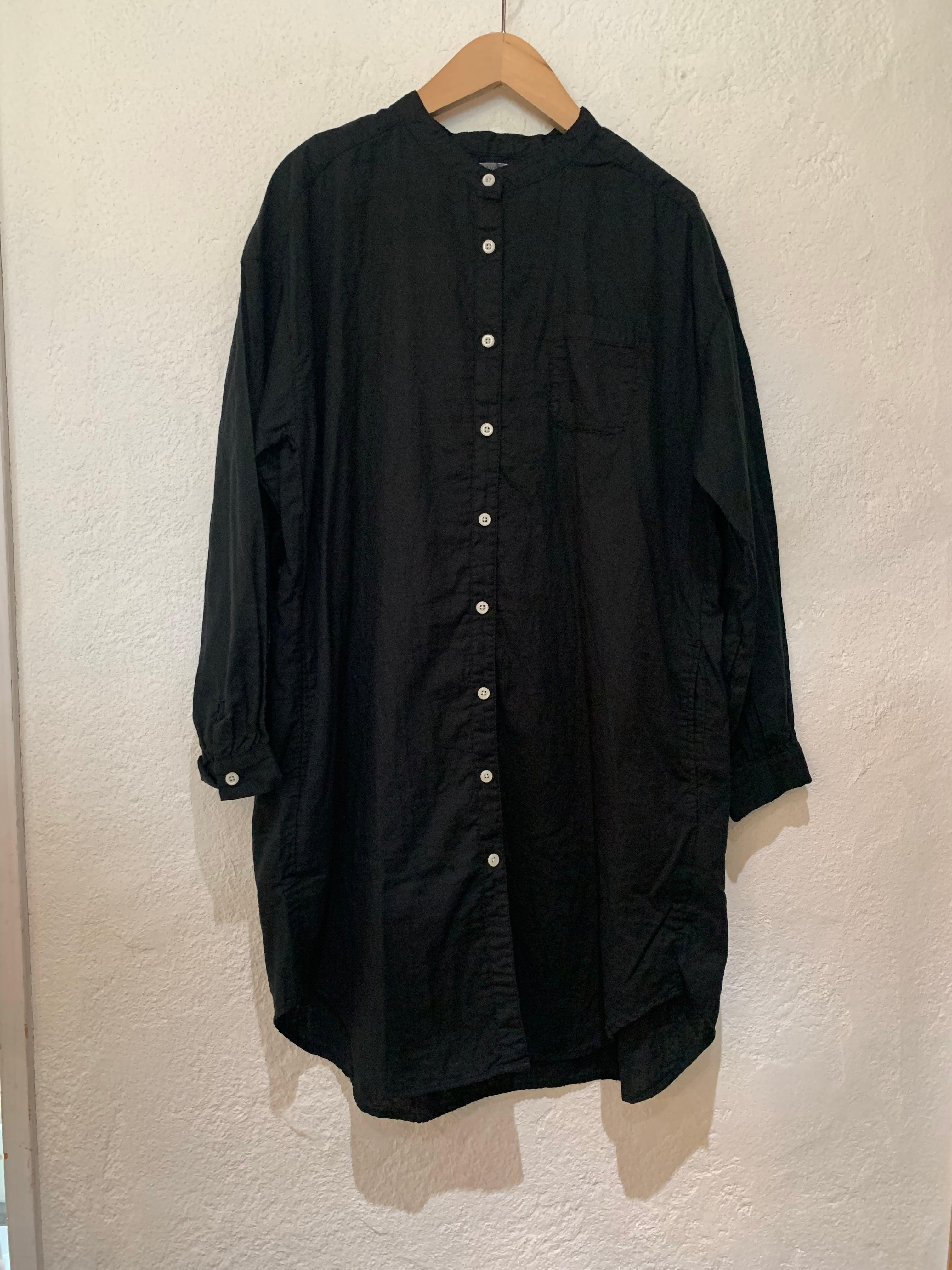 SANVALLEY/ダブルガーゼスタンドシャツ ブラック