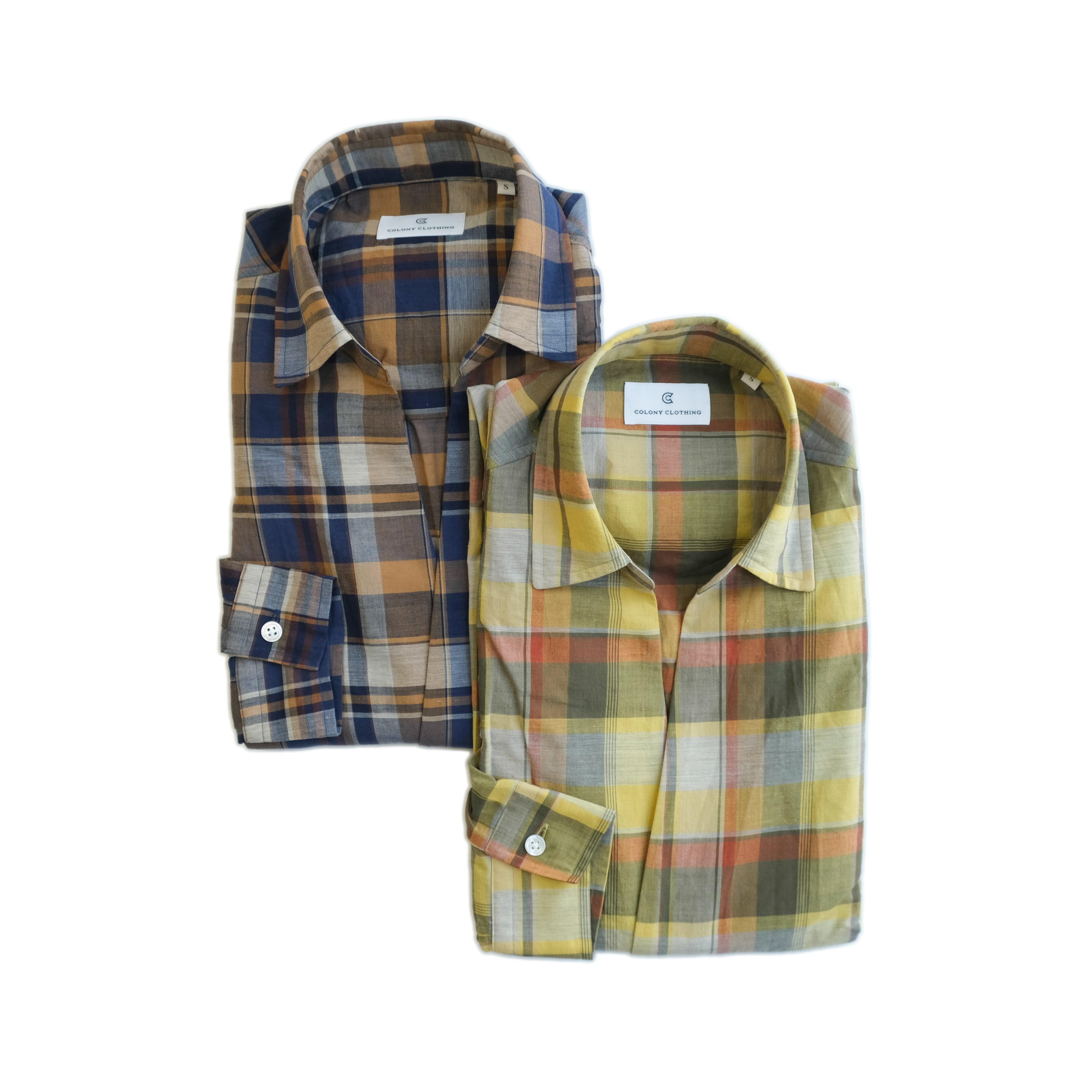 COLONY CLOTHING / POOL SIDE SHIRT MADRAS CHECKS / CC21-SH02-2(SALE)
