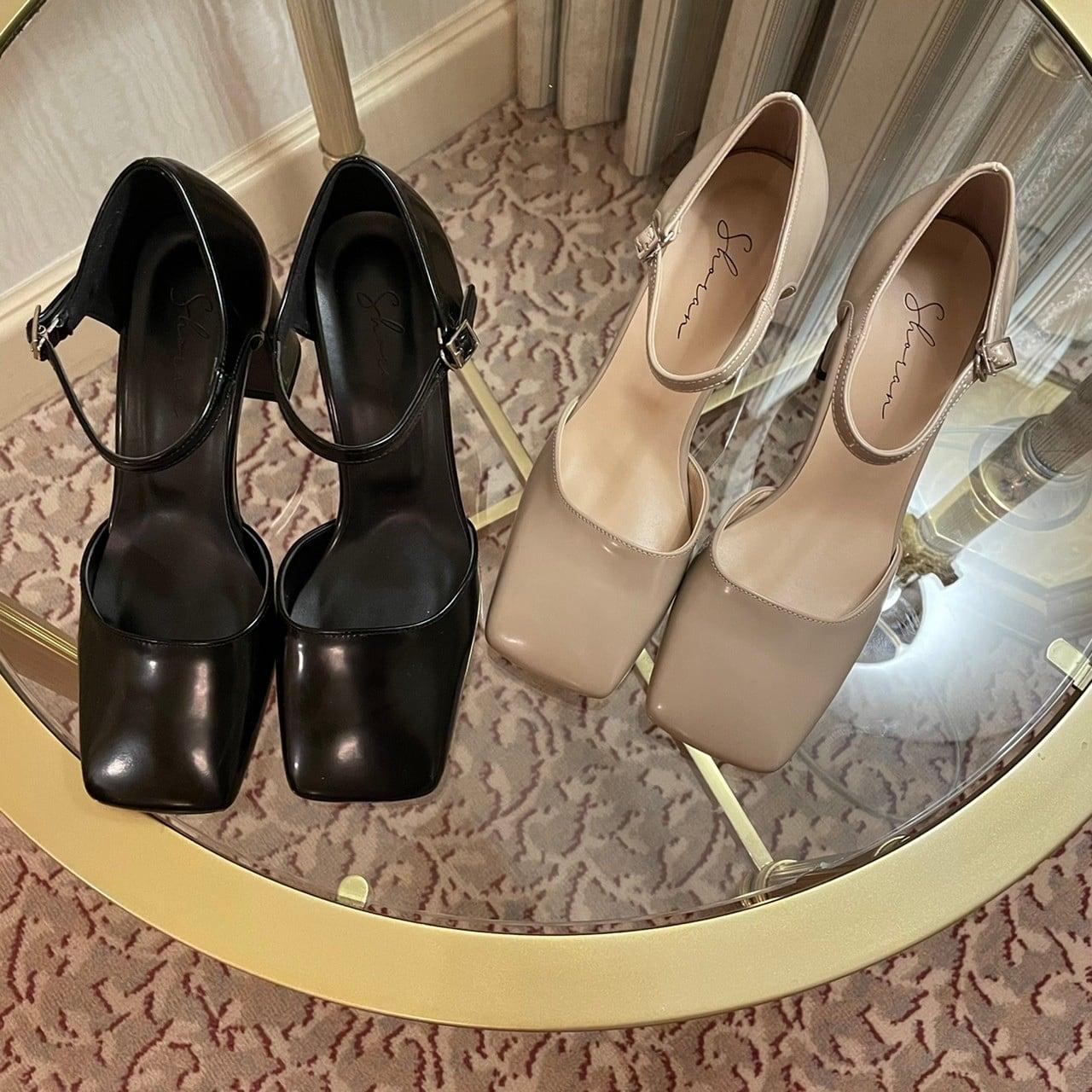 【Belle】square toe  pumps / black