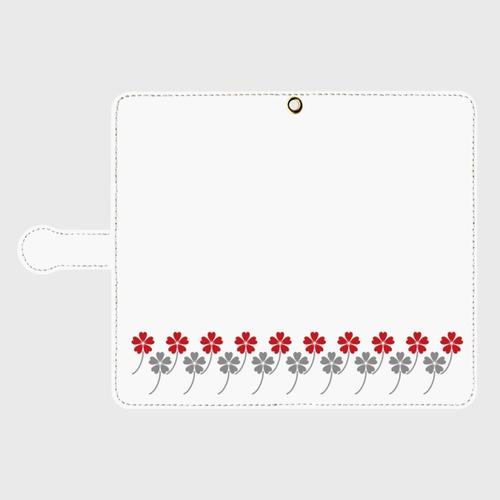 昭和デザイン花柄(赤・灰)/ Androidスマホケース(手帳型ケース)