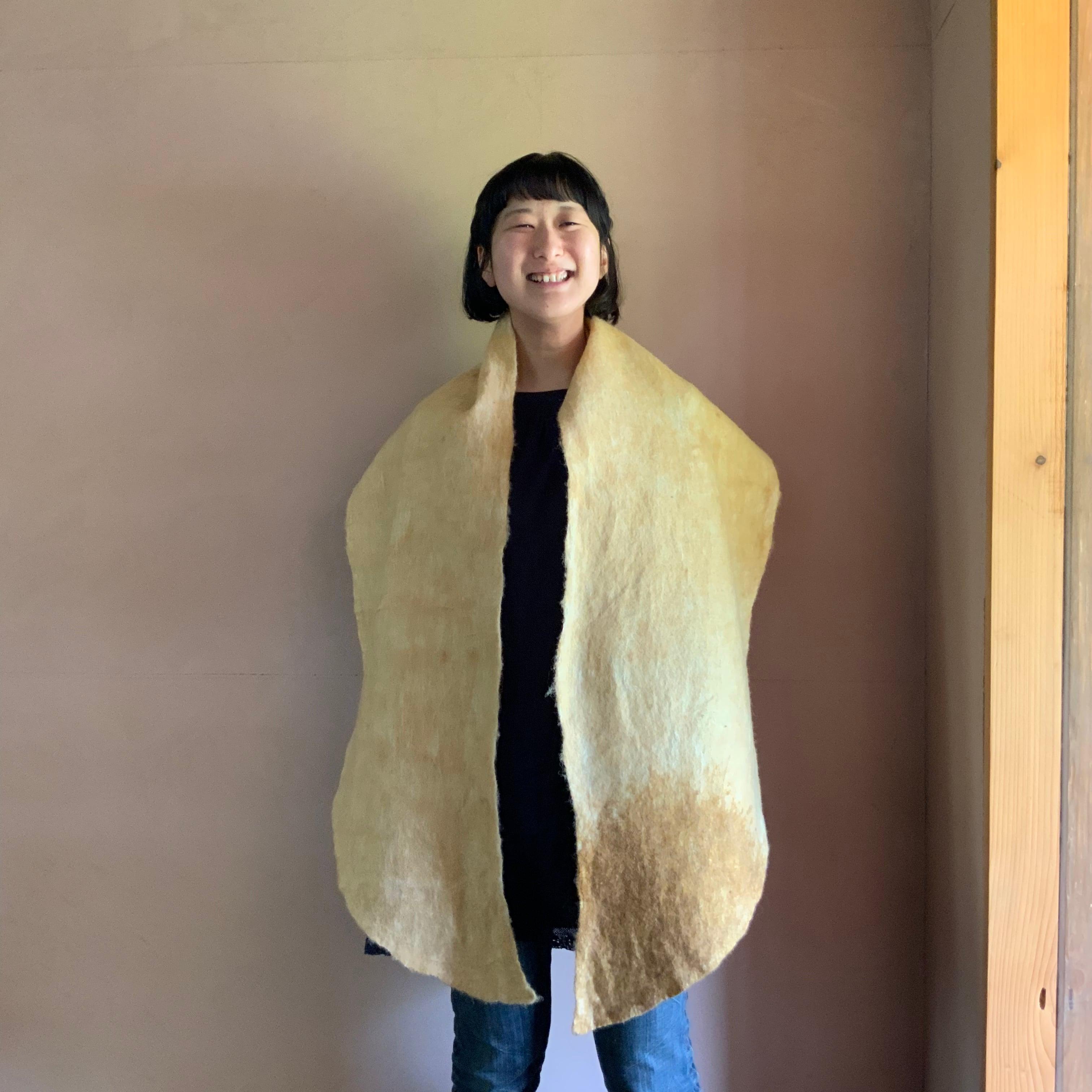 SWTLD21002 しっぽショール 黄色 × 茶