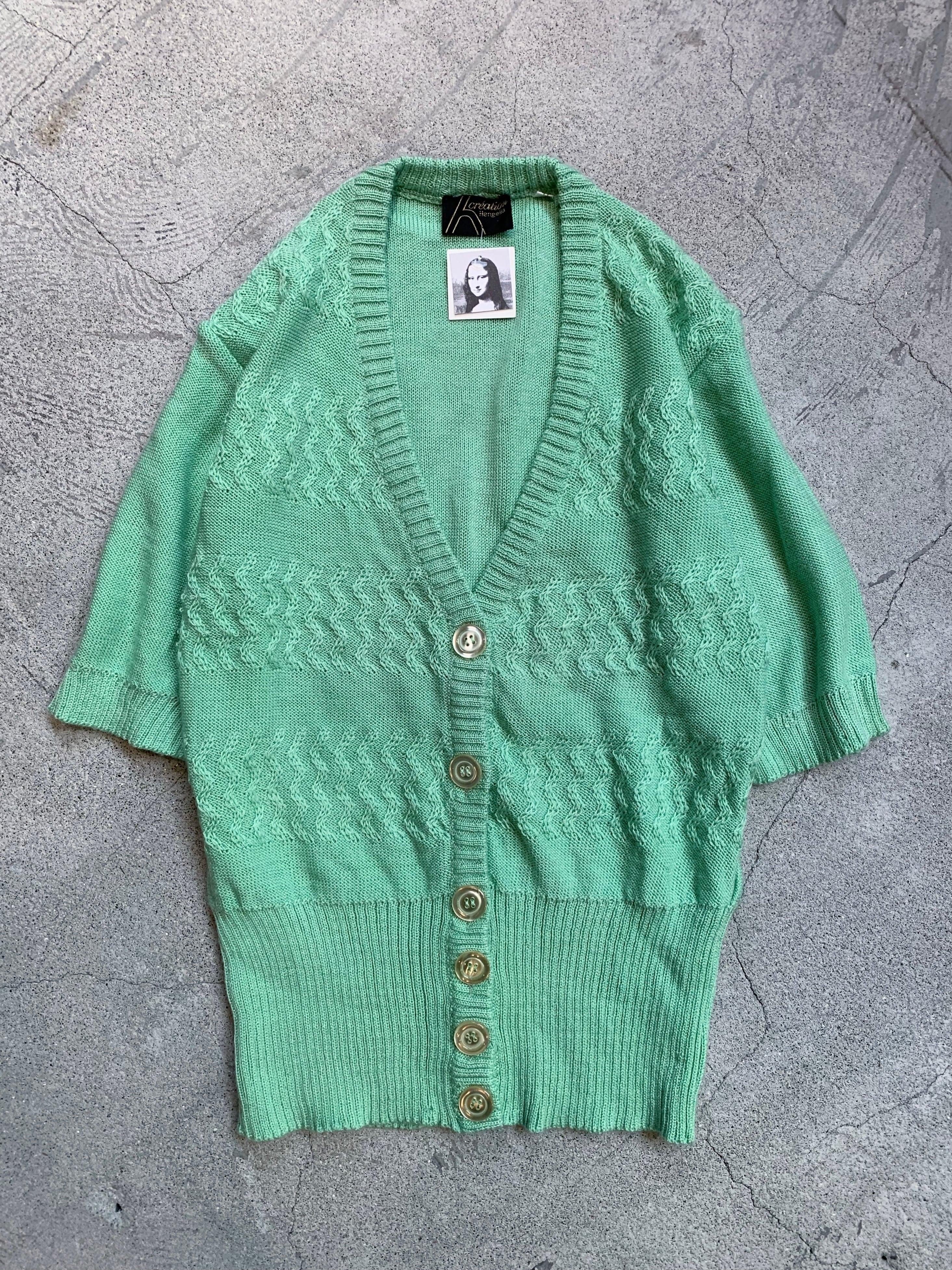 vintage half sleeve knit cardigan