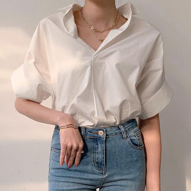 シンプルVネックシャツ | Vネックシャツ シンプル ワイド 大きいサイズ
