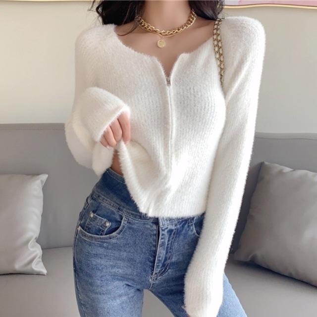 【トップス】セクシーファスナースリムワンピース長袖 ゆったり暖かいセーター36930815