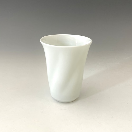 【中尾純】白磁ひねりカップ(細小)