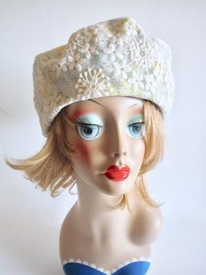 レースと刺繍のベレー帽<M56.5〜57cm>