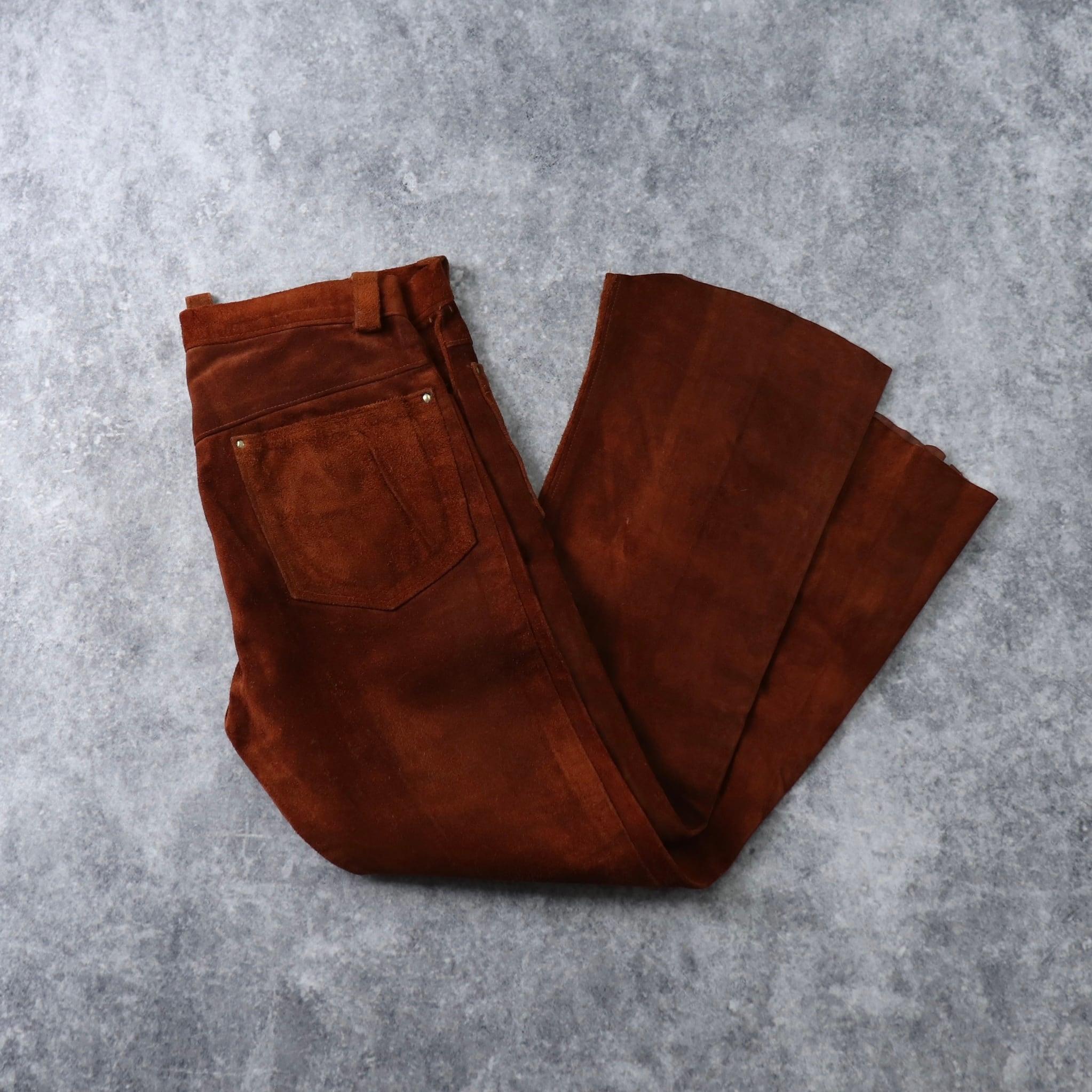 70's Vintage Leather Pants 70年代  ヴィンテージ  レザーパンツ  ハンドメイド ラフアウト 70年代 ヒッピー 古着 A659