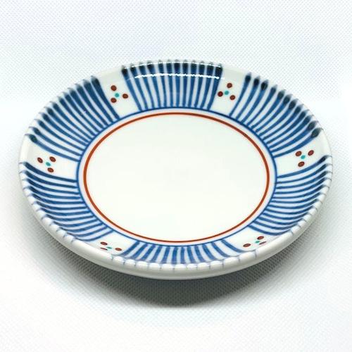 【砥部焼/梅山窯】4.6寸丸皿・切立(三つ紋)