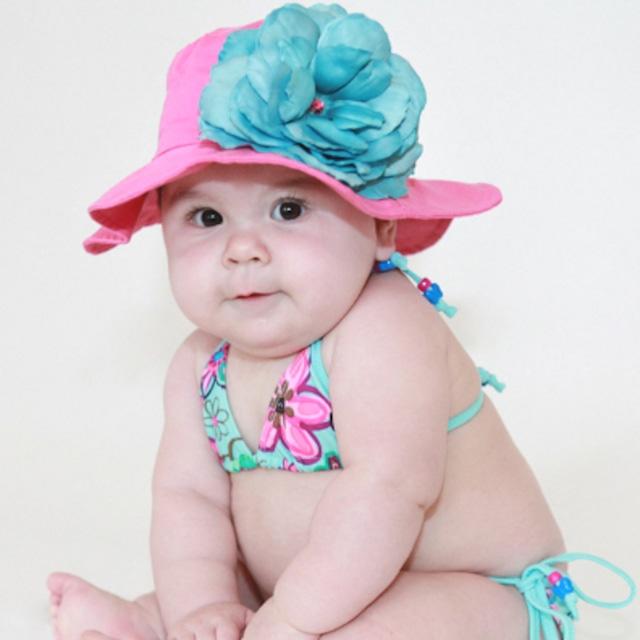 USAサイズ3ヶ月~1歳【JamieRaeHats ジェイミーレイハット】14<サンハット>ラズベリー/ティールローズ