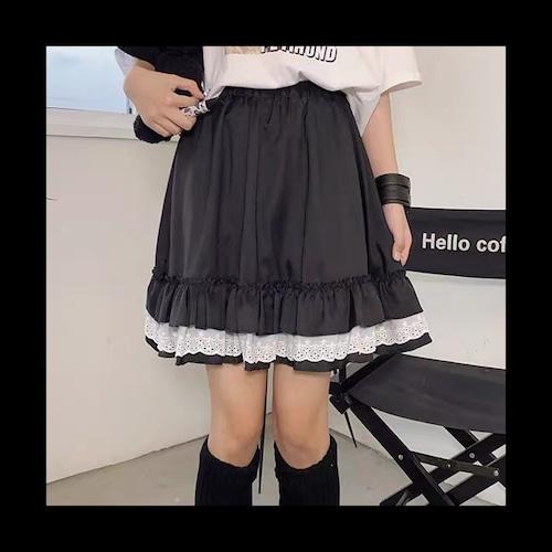 【お取り寄せ】フリル スカート ブラック