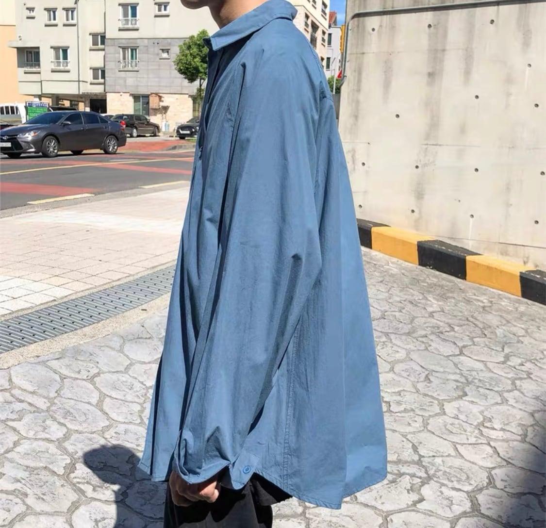 ユニセックスシンプルシャツ(ホワイト・カーキ・ブルー・ブラック)|メンズ レディース ゆるめ