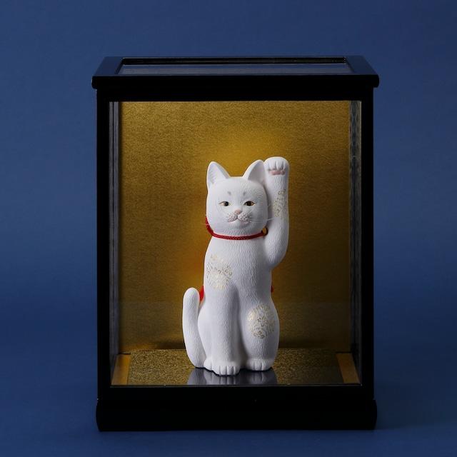 京雅 招き猫 白( 硝子ケース付き) kyomiyabi manekineko(white) with glass case