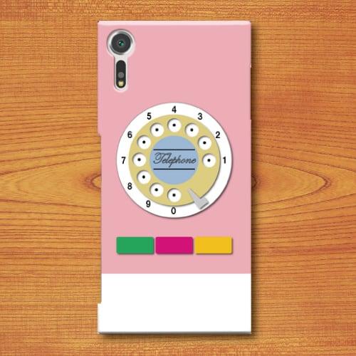 昭和レトロ/おもちゃ電話調/レトロ玩具調/桃色(ピンク)/Androidスマホケース(ハードケース)