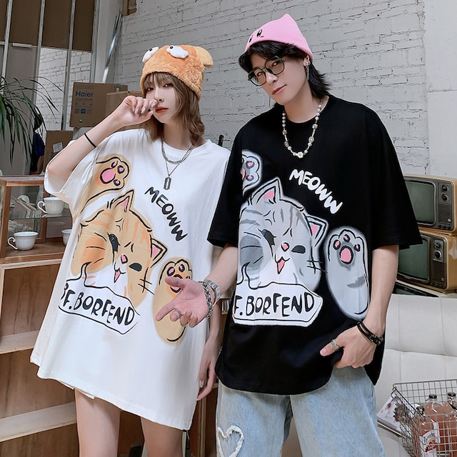 【トップス】キュート猫図柄カジュアル通学ファッション半袖ペアルックTシャツ49476927
