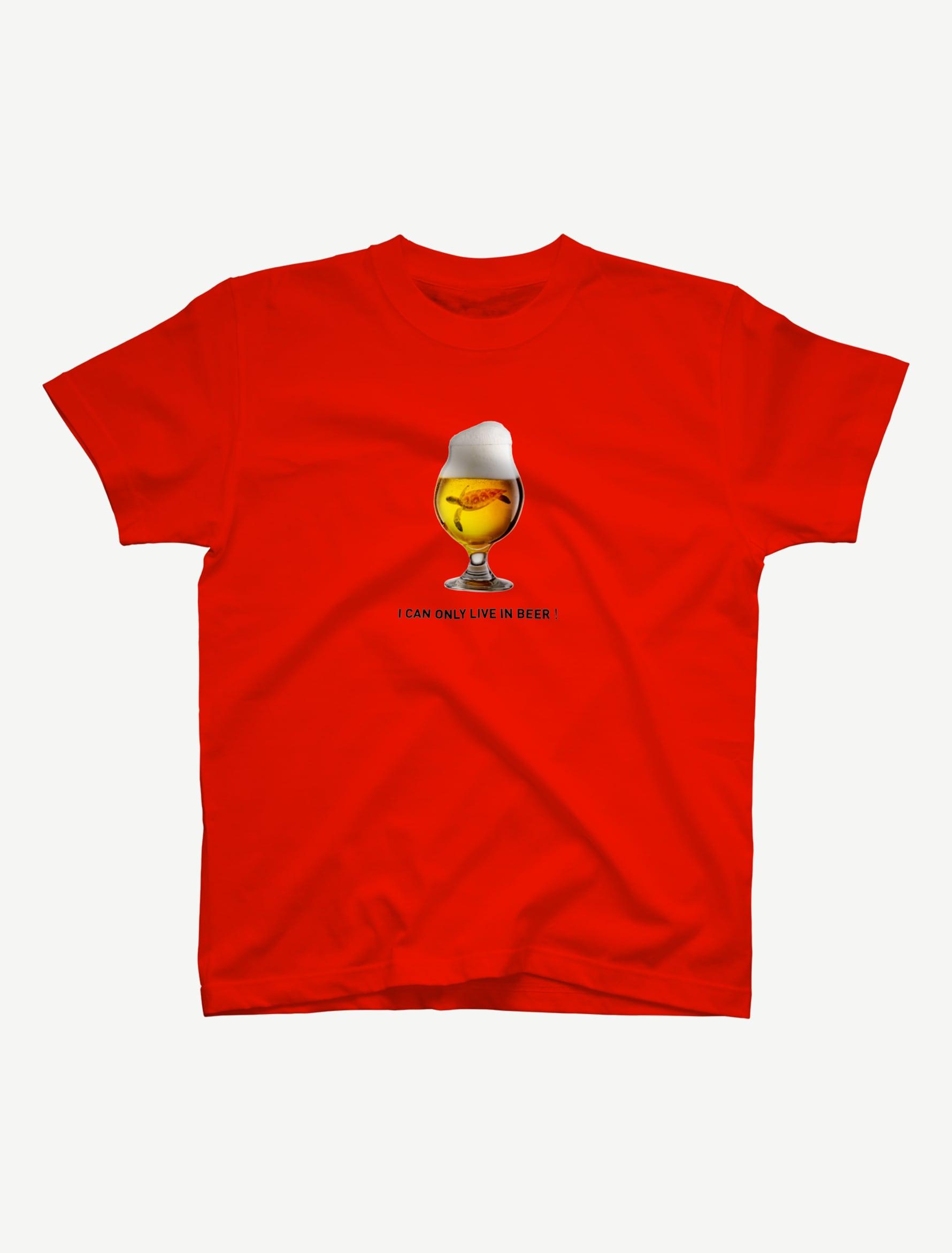 【ビールの中でしか・・・ウミガメ】Tシャツ(レッド)